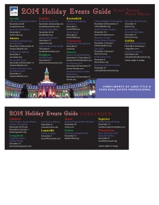 2014 Holiday Events Calendar